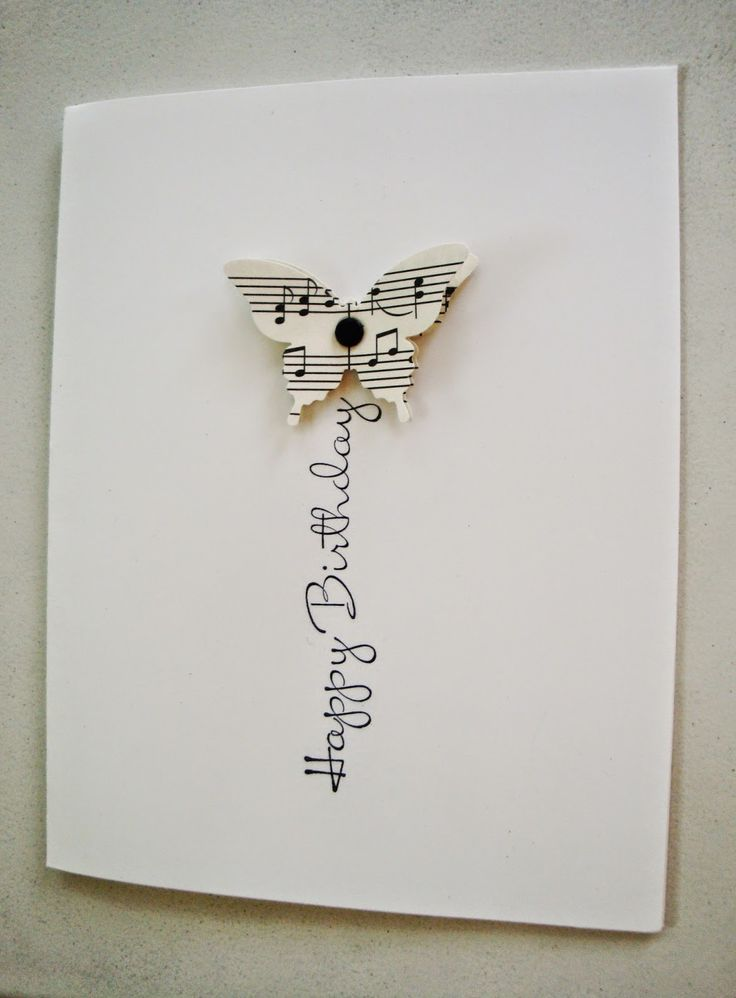 Stampin' Up! ... handmade card from penguinstamper ... clean and simple ... one layer ... butterfly die cut from sheet music ... birthday greeting serves as a flight trail ... wonderful!