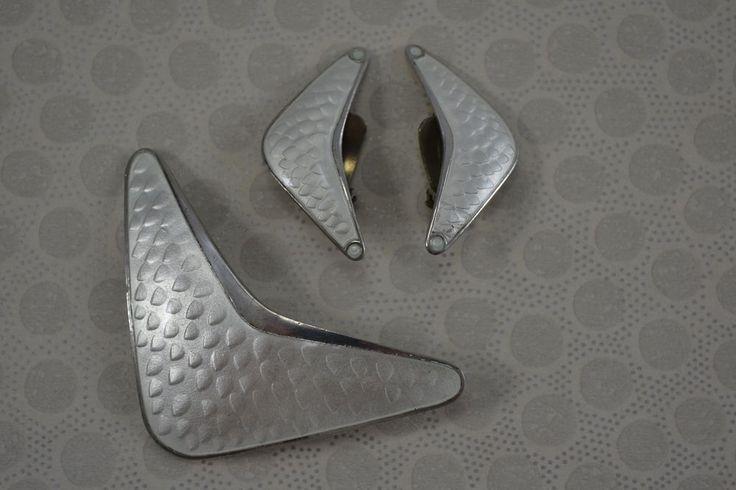 ANDERSEN & SCHEINPFLUG Norwegian silver enamel brooch earrings modernist 1940s