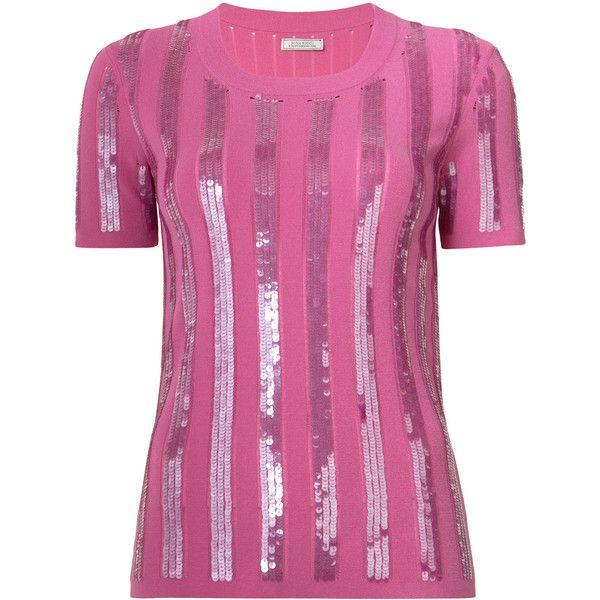 Nina Ricci embroidered T-shirt ($850) ❤ liked on Polyvore featuring tops, t-shirts, pink, embroidered t shirts, embroidered top, purple tee, pink t shirt and nina ricci