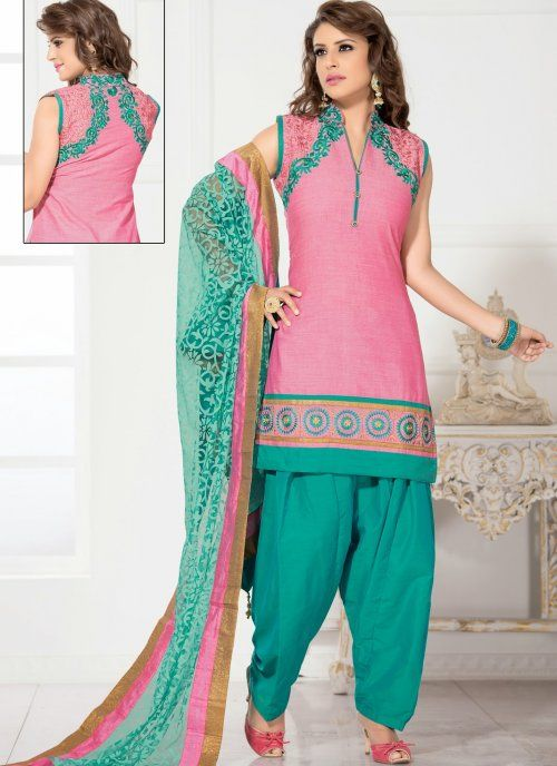 Exotic Rose Pink Salwar Kameez #punjabi #suit #salwarkameez #indian #party #wear #designer #suit #elegant #patiala #salwar #pink #green #wedding #asian #clothing #indiantrendz