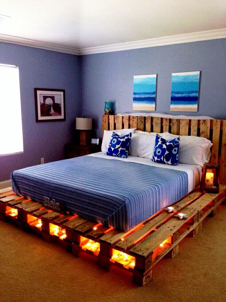 Homemade pallet bed with underneath lighting