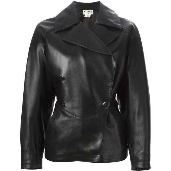 Alaïa Vintage Double Breasted Leather Jacket ($2,333) ❤ liked on Polyvore featuring outerwear, jackets, black, double-breasted jacket, genuine leather jacket, vintage jacket, vintage leather jacket and leather jacket