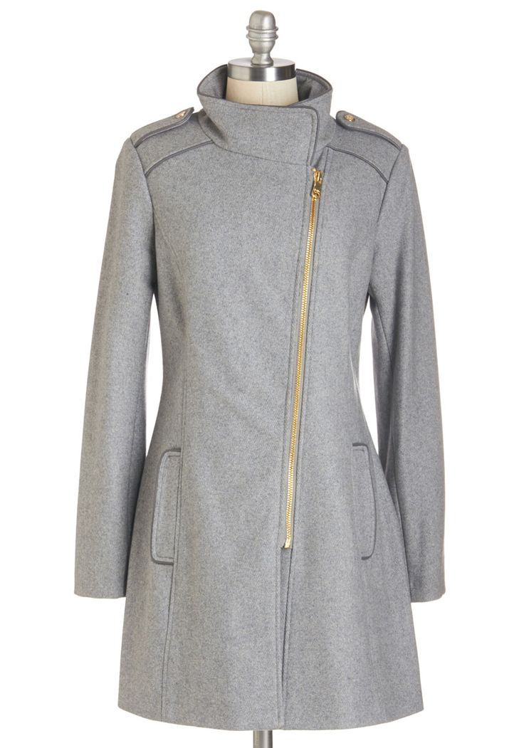 Long Time No Seattle Coat. After leaving baggage claim, you zip up this asymmetrical jacket and reunite with your childhood friends! #grey #modcloth