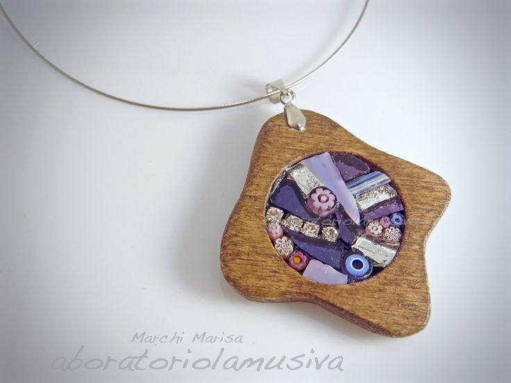 pendente macchia legno mosaico viola