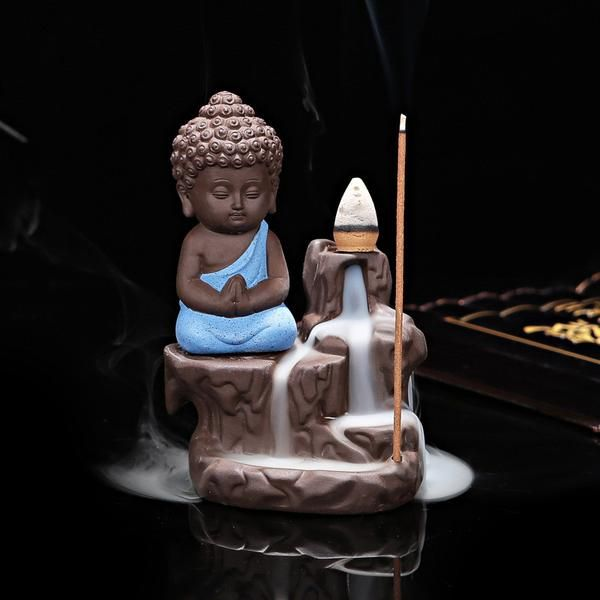 FREE SHIPPING, Creative Home Decor The Little Monk Censer Backflow Incense Burner Use In The Home Office Teahouse X1113