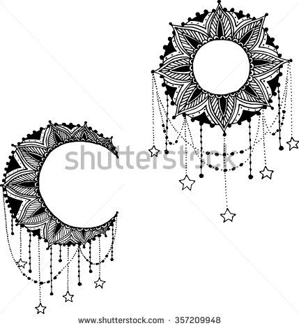 Vector Beautiful Deco Black Moon and Sun Mandala, Patterned Design Element, Ethnic Amulet