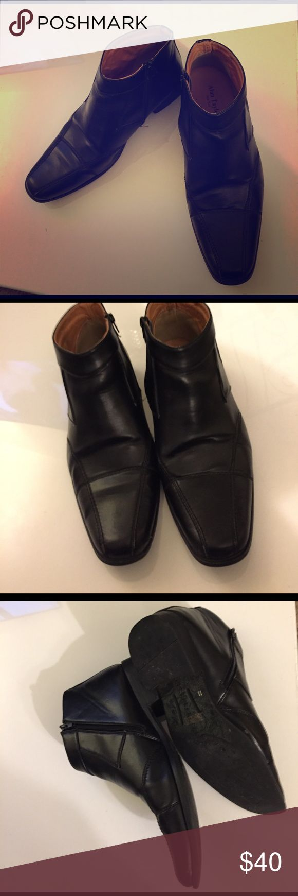 Men's Black Business Shoe I'm not sure if these are real leather or not. I imagine be they are. I looked online and didn't get any info- brand is Alan Taylor New York style Alfonso size 11 - believe they are a line by Lord & Taylor Alan Taylor Shoes Loafers & Slip-Ons