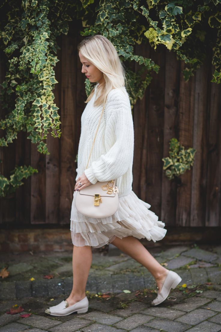 Winter whites wearing Bimba y Lola jumper with Prada skirt, Chanel shoes and…