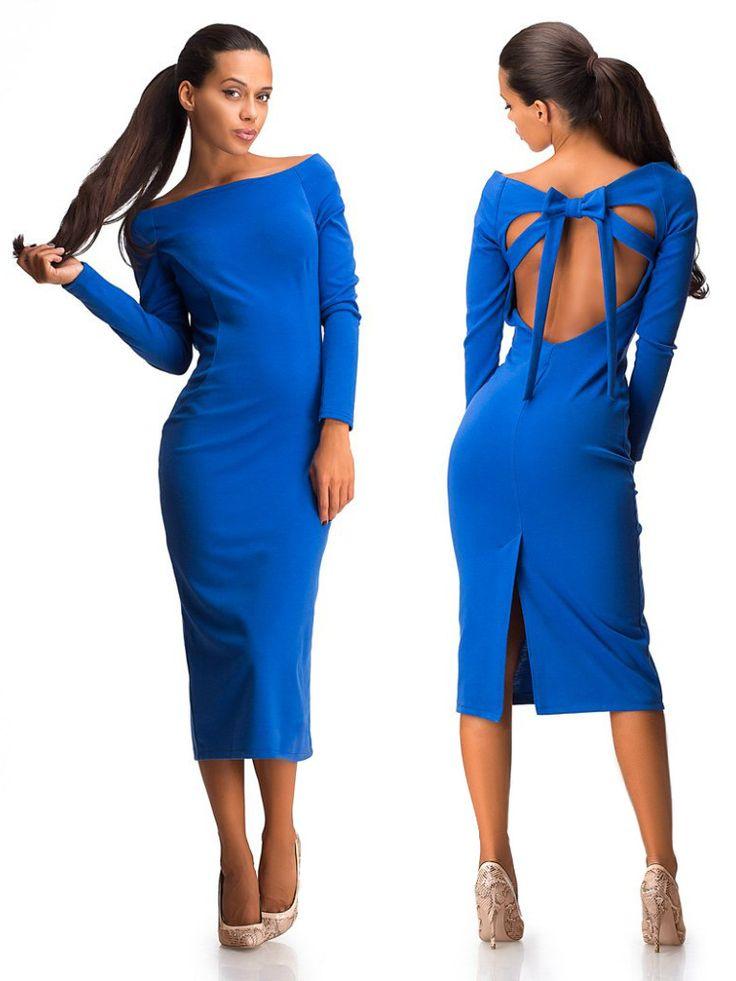 Платье миди с открытой спиной , синее