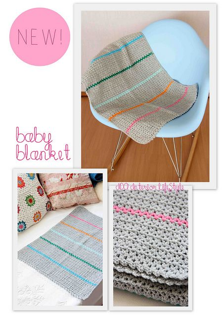 V-stitch baby blanket, free pattern diagram by IDA Interior LifeStyle . . . . ღTrish W ~ http://www.pinterest.com/trishw/ . . . . #crochet #afghan #throw