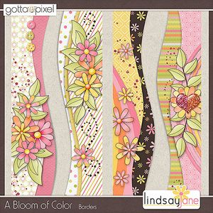 A Bloom of Color Digital Scrapbook Borders, $2.00 at Gotta Pixel. www.gottapixel.net/