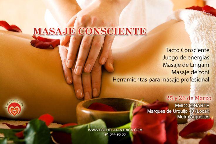 En los cursos de masaje consciente aprenderás la técnica. El siguiente paso será olvidarla para que de esta forma pueda ser utilizada desde el estado de no mente. FECHAS: 25 - 26 MARZO en Madrid de 11.00 A 15.00 Y 16.00 A 20.00  ULTIMAS PLAZAS Inscribete Aquí: http://escuelatantrica.com/CursoSexualidadConsciente.html