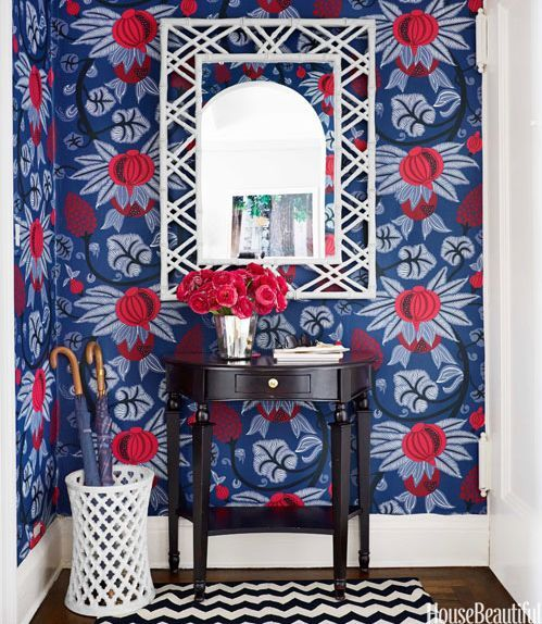 whimsical and vibrant entryway wallpaper with traditional touches | La Dolce Vita