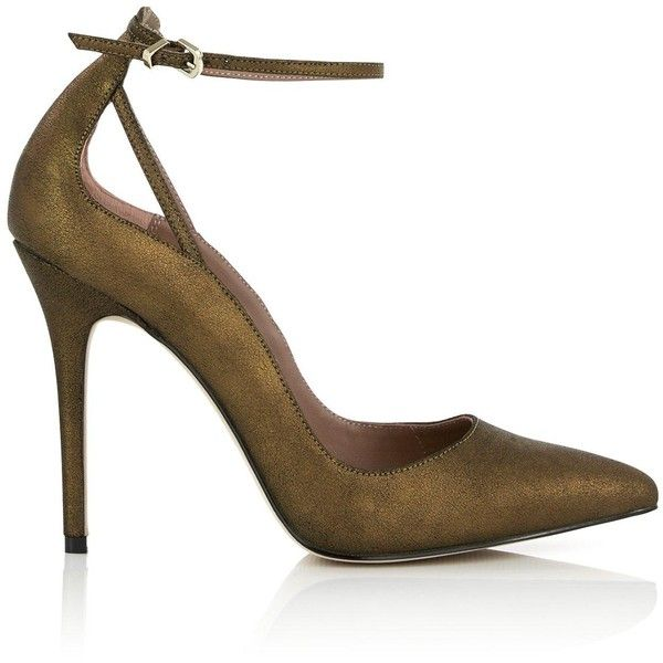 Reiss Leighton Metallic Ankle Strap Court Shoe ($190) ❤ liked on Polyvore featuring shoes, pumps, heels, bronze, pointed toe pumps, metallic pumps, pointed toe stilettos, pointy toe pumps and leather pumps