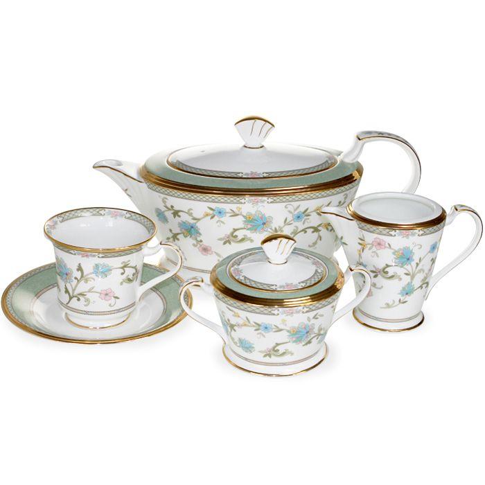Сервиз чайный, 6 перс, 17 пр, Юшино Посуда из костяного фарфора. Комплектация: чашка чайная - 6, блюдце чайное- 6,  сахарница с крышкой, молочник, чайник с крышкой.
