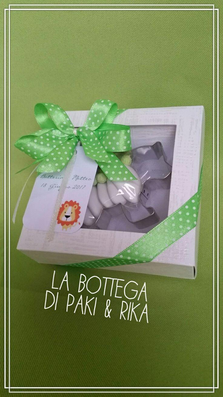 #Bomboniere#tagliabiscotti#green#jungle#giungla#verde#battesimo