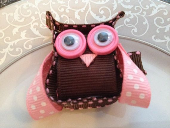 Owl Hair Bow Clip -- button googly eyes, hmmm....