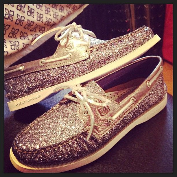 Sparkly Sperrys.  I may be too old to pull off glitter Toms but I think I could totally rock these :)
