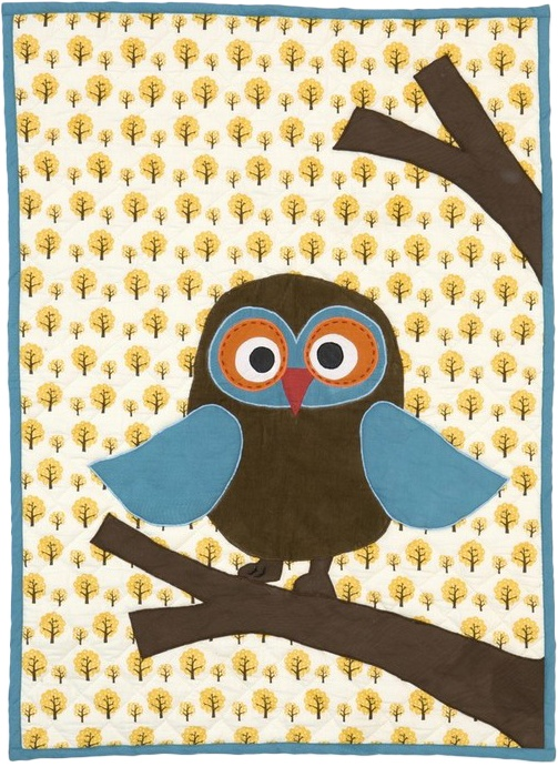 A cute and cosy quilted blanket for the little ones. The blanket is perfect for cuddling, playing, picnics, bedcover etc.,Owl Quilted Blanket, Ferm Living, Natural, Blanket