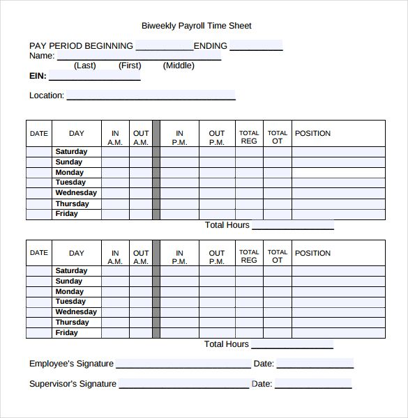 payroll timesheet templates free sample example format weekly