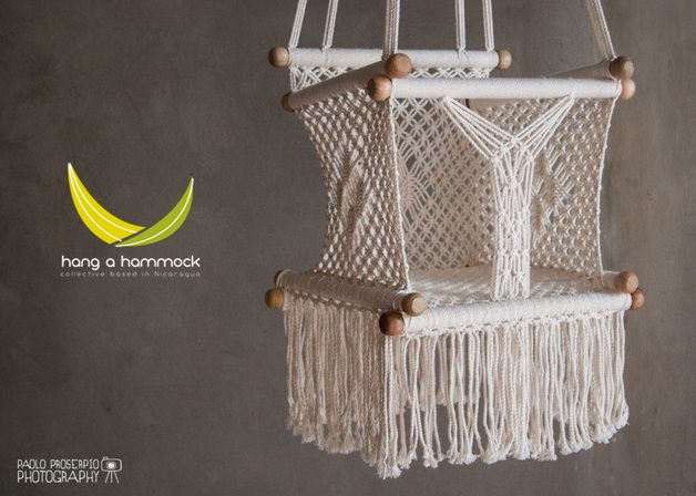 Macrame baby swing chair for infant to child by hang a for Diy macrame baby swing