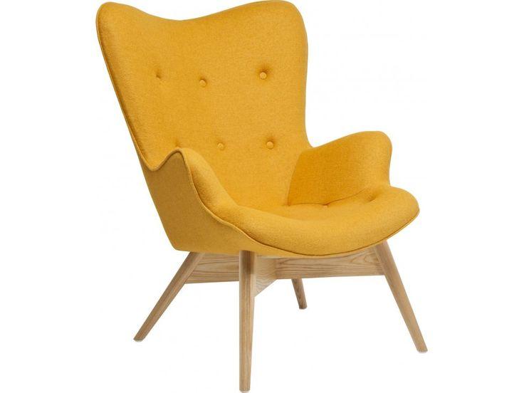 Fotel Angels Wings Eco żółty wełna — Fotele Kare Design — sfmeble.pl
