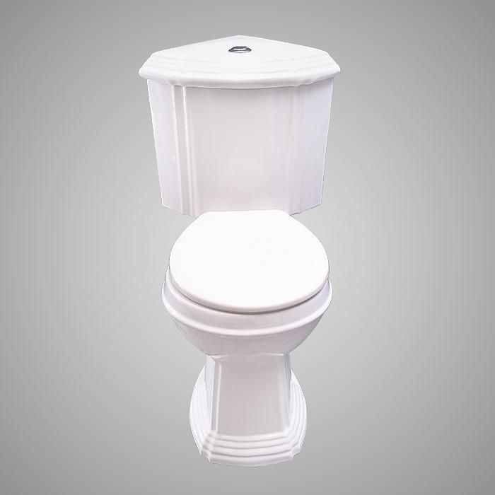 This Two Piece Toilet Fits Neatly Into A Bathroom Corner When Space Limitations Dictate Such A Decision The Stirring Design And Shape Shou Corner Toilet Toilet Dual Flush Toilet
