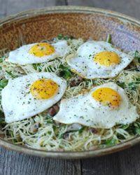 Spaghetti with Arugula, Pancetta, Herbs & Eggs