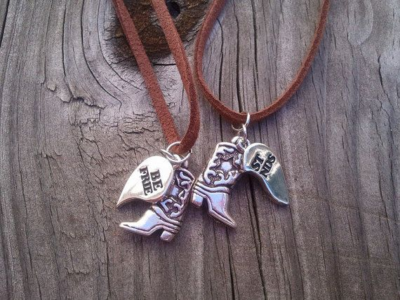 Country Cowgirl Boot Best Friend Necklaces (2) by CRAFTSBYMANDEE, $18.00
