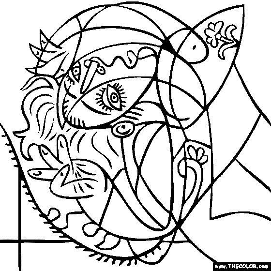 100% free coloring page of Pablo Picasso painting - Girl on a Pillow. You be the master painter! Color this famous painting and many more! You can save your colored pictures, print them and send them to family and friends!