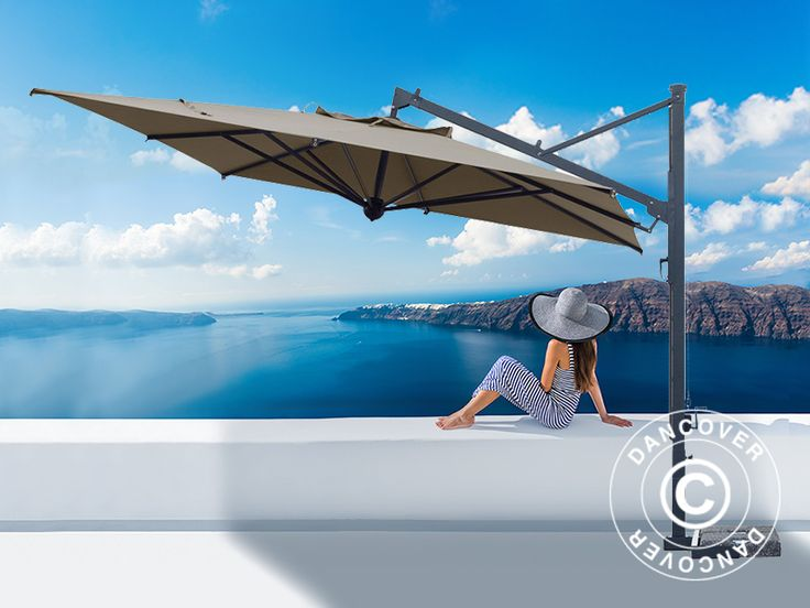 CANTILEVER PARASOL GALILEO DARK, 3.5X3.5 M, GREY TAUPE Top of the line cantilever parasol in an exquisite handmade Italian quality. The beautiful and exclusive parasol has a very elegant and modern design. Frame in coated steel and aluminium that will maintain the beautiful finish for many years without any maintenance.