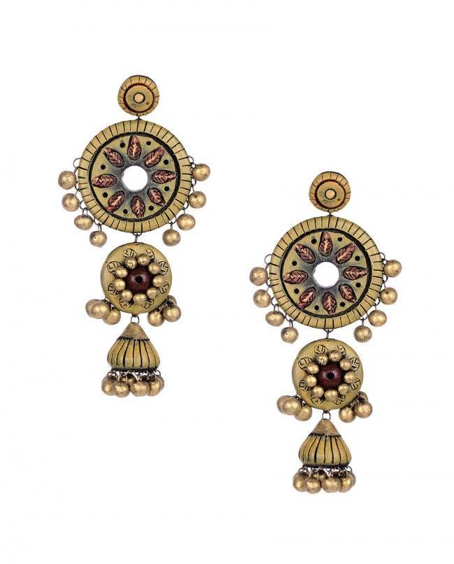 Floral Pista Green Jhumki Earrings- Maatikaar  Shop Now: goo.gl/81frBe #Maatikaar #Terracotta #Jewelry #Jewellery #Accessories #Earrings #Pendant #Necklace #Bangle #Bracelet #Lotus #Jhumki #Ganesh #Motif #Beads #Gold #Red #Blue #Green #Black #Silver #Color #Colour #Summer #Unique #Fashion #Desi #Indian #India #Designer #Nature #Intricate #Beautiful #Luxury #Exclusivelyin