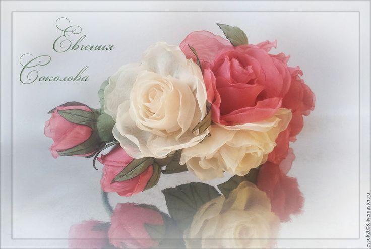 Купить Ободок с цветами Розы - розовые розы, пудровые розы, цвет пудры, розы айвори