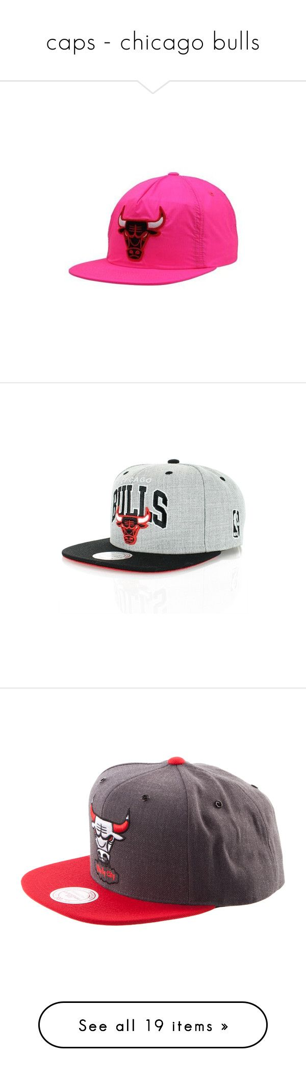 """""""caps - chicago bulls"""" by nadi-sofia ❤ liked on Polyvore featuring accessories, hats, snapback hats, snap back hats, flat hat, neon hats, chicago bulls hat, chicago bulls snapback hats, mitchell ness hats and caps"""