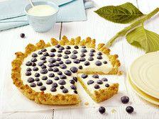 Przepis - Borówkowe ciasto w kształcie słonecznika