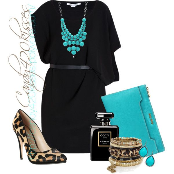 classy outfits - The turq makes this plain black dress pop!  Shoes aren't bad either in lower heel.