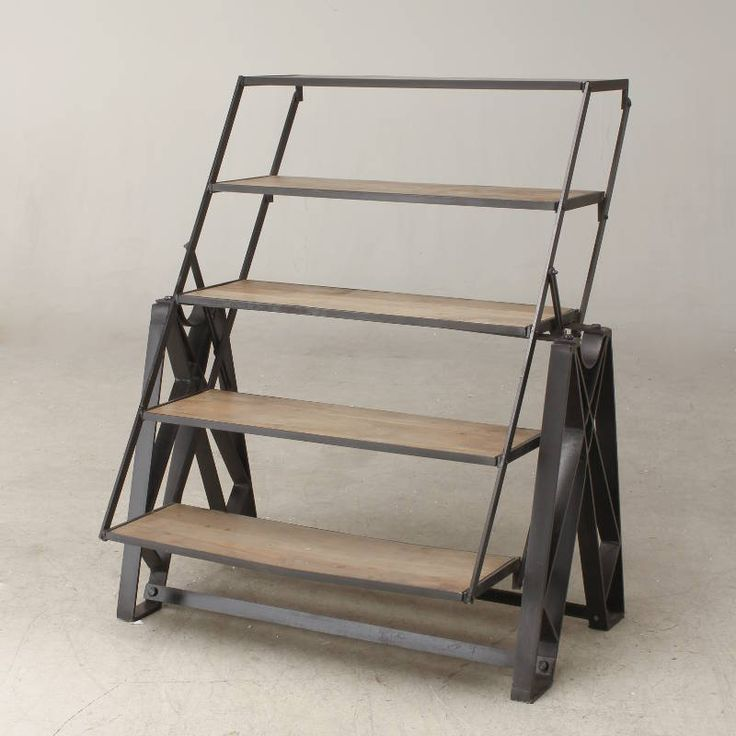 Urban vintage iron and pine shelving / table unit