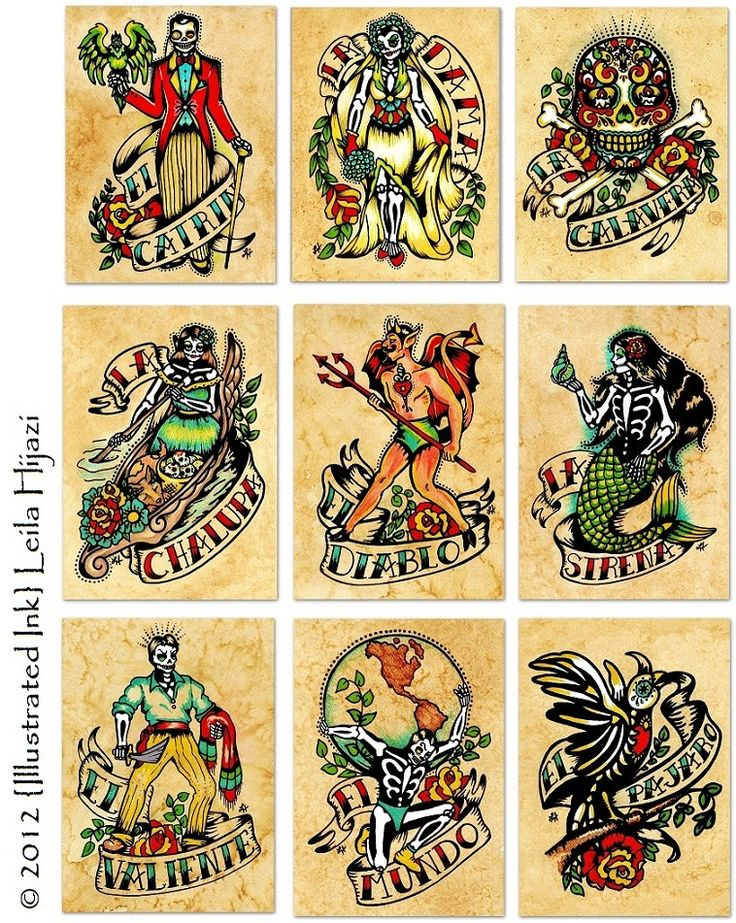 Day of the Dead Art Prints Mexican Loteria 5 x 7 SET of 9 Designs. $52.00, via Etsy.