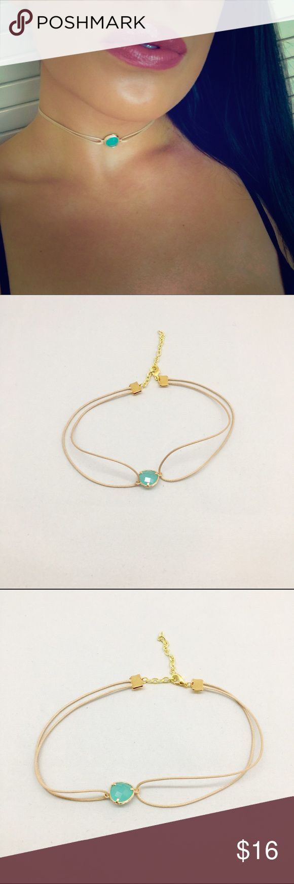 "Aurora Choker Beautiful aqua stone set in gold material with a nude necklace. Measures 11""-14"" beautiful to layer or wear alone. NOT FREE PEOLE, Price firm unless bundled. Free People Jewelry Necklaces"