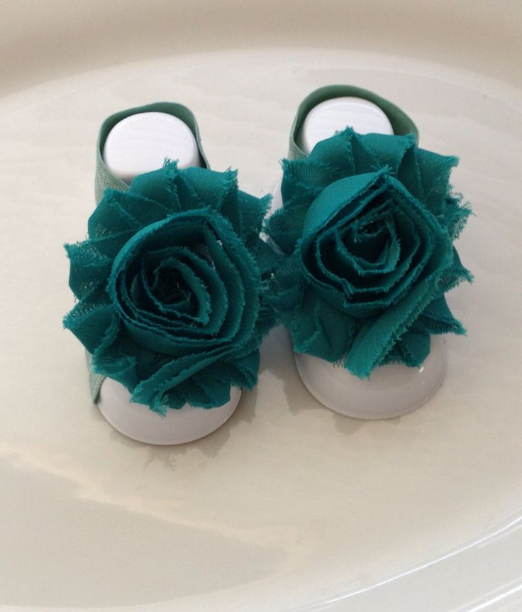 Teal Color Shabby Chiffon Bare Foot Sandals. by MiShaMeDesigns