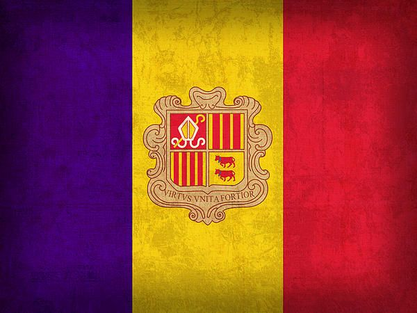 Andorra Flag Vintage Distressed Finish