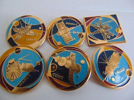 Винтаж.Набор значков из серии  Космос 6 штук от Sovietvintage47