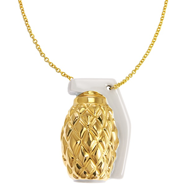 gold Grenade necklace  #gold #porcelain