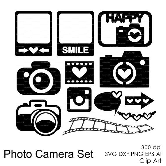 Photo Camera Set (svg, dxf, eps, ai, png) Journal Cards, Overlays, Scrapbooking Vector Die Cut Files for cutting machines Silhouette Cameo