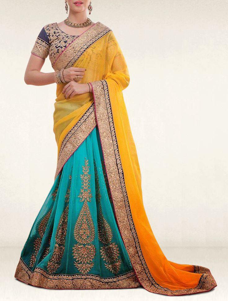 Eyecatchy Turquoise & Yellow Emboidered Lehenga Designer Style Saree