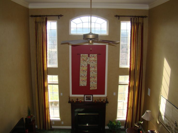 89 best images about two story family room on pinterest for Family room curtain ideas
