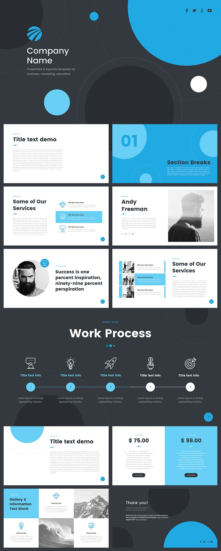 Download Free PowerPoint Template https://goo.gl/Dc1Rn5 #ppt #powerpoint #slide #clean #blue #startup #free 12 Unique slides, easy editable, support 24/7. Ideal for report, startup, marketing or education. Section break slide, cover, timeline, pricing table and more.