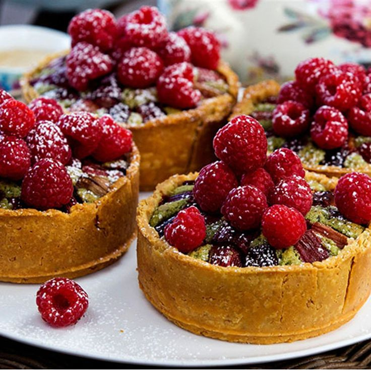 Try this Pistachio Frangipane Tarts with Roasted Rhubarb and Raspberries recipe by Chef Maggie Beer. This recipe is from the show The Great Australian Bake Off.