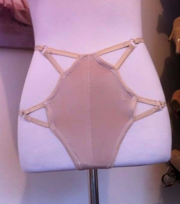 Customised cage panties for Burlesque Performer, Azure Demure before bedazzling. By Gaylene Allam.