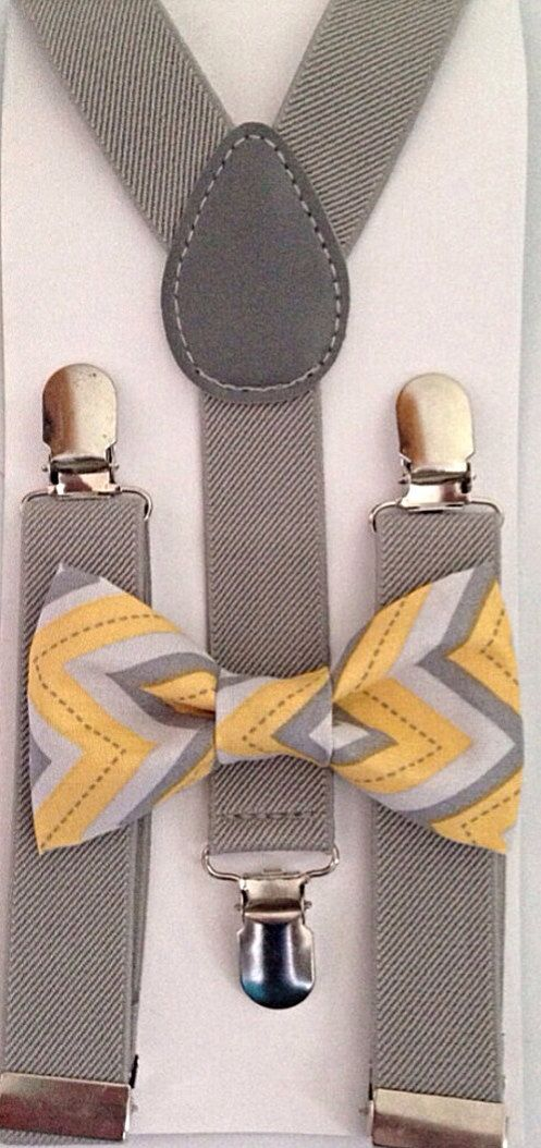 Light gray Suspenders  Yellow and Gray Chevron bow by BowTieFun, $12.89